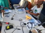 Hard at work soldering